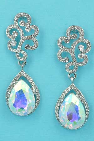 "Aurora Borealis/Clear Silver Cloud Top Pear Stone Bottom 2"" Earring"