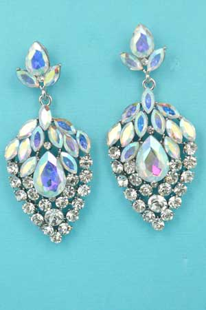 "Aurora Borealis/Clear Silver Strawberry Shape Multiple Stones 2.3"" Post Earring"