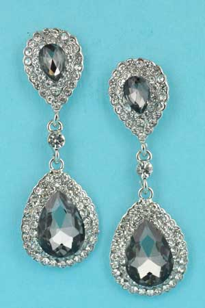 "Black Diamond/Clear Silver Two Pear Stone Linked 1.5"" Earring"