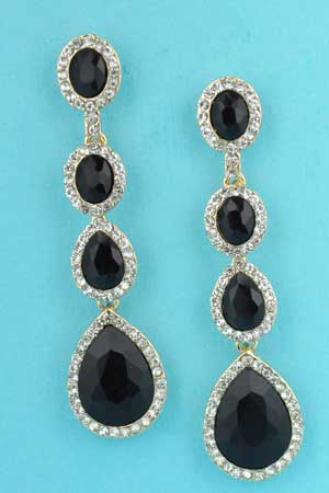 """Jet/Clear Gold 4 Stones Linked 2.5"""" Earring"""