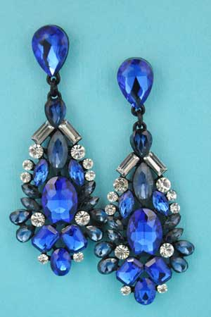 "Saphire/Montana Navy Multiple Stones 2"" Post Earring"