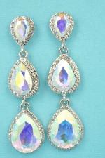 "Aurora Borealis/Clear Silver Three Pear Crescent Stones 2.2"" Post Earring"