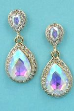 "Aurora Borealis/Clear Silver Two Pear Stone Linked 1.3"" Post Earring"