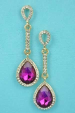 """Fuschia/Clear Gold Straight Round Stone Pear Stone 1.5"""" Earring"""