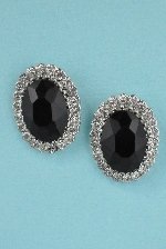 Jet/Clear Silver Single Emerald Stone Surrounded Small Round Stone 1/4' Post Earring