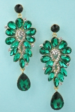 Emerald/Clear Gold Multiple Pear Stone Framed Shape 3'' Dangle Post Earring