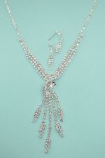 Clear/Silver Tri Row Twisted With Gem Tassle Necklace Set