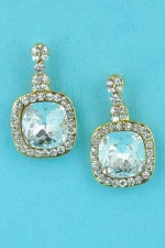 "Clear/Gold Square/Round Stone 0.5"" Earring"