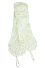 """Fingerless w/Lace Gloves 8"""" Ivory"""