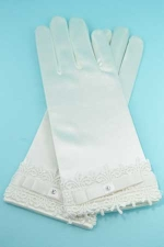 """Clear/Ivory Framed Embroidery Botton 2"""" Gloves"""