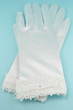 """Clear/White Framed Embroidery Botton 2"""" Gloves"""
