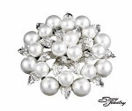 White Pearl/Silver Cluster Pin