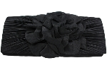 Black Large Flower Ruffle Top Clutch