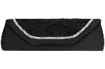 Black Lace Front with 2 Row Crystal Trim Clutch