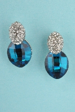 Blue Zircon/Clear Silver Two Oval Shape Stone 0.5'' Post Earring