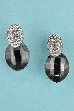Black Diamond/Clear Silver Two Oval Shape Stone 0.5'' Post Earring
