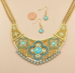 Blue/Gold Tribal Inspired Statement Necklace Set