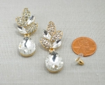 Clear/Gold Speckled Egg Dangle Post Earring