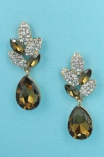Light Colorado/Clear Gold Pear Shape 1 1/4'' Post Dangle Earring