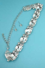 Clear/Silver Radiant/Round Stone 1 Line Set