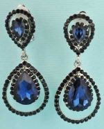 Sapphire/Silver Pear Stone Earrings