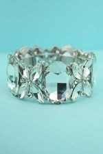 Clear Silver Marquise/Oval/Round Stone Bracelet