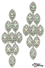 AB/Clear/Silver Multi-Pave Marquis Cascading Earring
