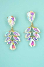 AB Gold Pear/Marquise Cluster Dangle Earring