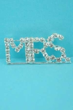 Clear/Silver Rhinestone MRS. Pin
