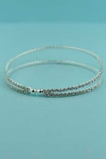 Clear/Silver 2 Rows Small Round Stone Bracelet