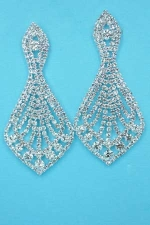 """Clear/Silver Pear Shape Multiple Small Round Stones 2.5"""" Earring"""