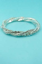 Clear Silver Intertwined Rhinestone Bracelet