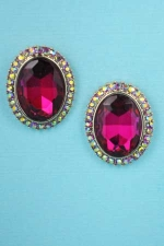 Fuchsia/Siam AB Gold Single Oval Stone 1/2'' Post Earring