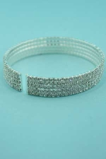 Clear/Silver 5 Rows Small Round Stone Bracelet