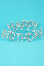 Clear/Silver Happy Birthday Pin