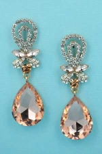 Light Peach/Clear Gold Tie Shape Pear Stone 2'' Post Dangle Earring