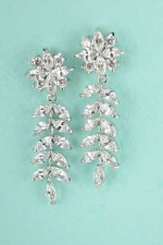 Cubic Zirconia Silver Flower Dangle Post Earring