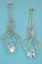 """Clear/Silver Overlap Round Stone/ Pear Stone 2.8"""" Post Earring"""