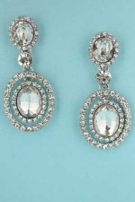 """Clear/Silver Three Pieces Post Dangle 1.8"""" Earring"""