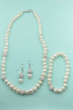 Pearl Clear Silver With Pave Ball Necklace 3 Pieces Sets