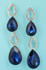 "Montana Navy/Clear Silver Four Pear Shape 2"" Post Dangle Earring"