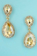 """Light Colorado/Clear Gold Two Pear Stone Framed 1.5"""" Post Dangle Earring"""