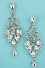 Clear/Silver Framed Round Stone Drancing Pear Stone 2.3'' Post Earring