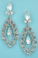 Clear/Silver Marquise Shape Center Dancing Stone 2.5'' Post Earring