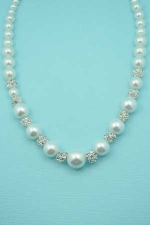 Pearl/Clear White Silver Globe Round Stone Necklace