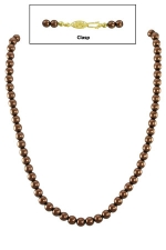 """16"""" 6MM Copper Pearl Necklace w/Gold Clasp"""