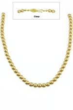 """16"""" 6MM Gold Pearl Necklace -Gold Clasp"""