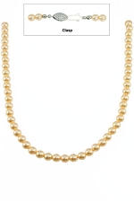"""16"""" 6MM Light Peach Pearl Necklace-Silver Clasp"""