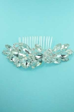 Clear/Silver Framed Pear/Marquise Stone Rhinestone Haircomb