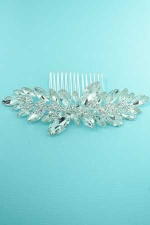 Clear/Silver Framed Marquise Stone Haircomb